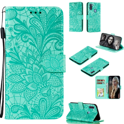 For Galaxy A11 Lace Flower Embossing Pattern Horizontal Flip Leather Case , with Holder & Card Slots & Wallet & Photo Frame & Lanyard(Green)