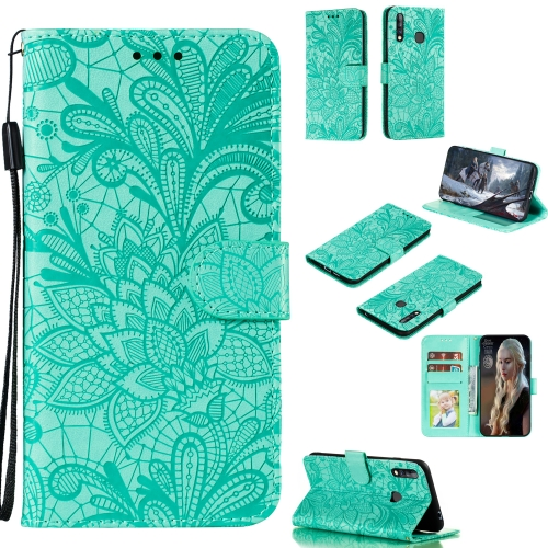 For Galaxy A70e Lace Flower Embossing Pattern Horizontal Flip Leather Case , with Holder & Card Slots & Wallet & Photo Frame & Lanyard(Green)