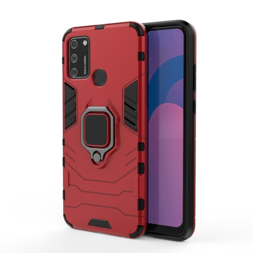 For Huawei Honor 9A PC + TPU Anti-fall Protective Case with Magnetic Ring Holder(Red)