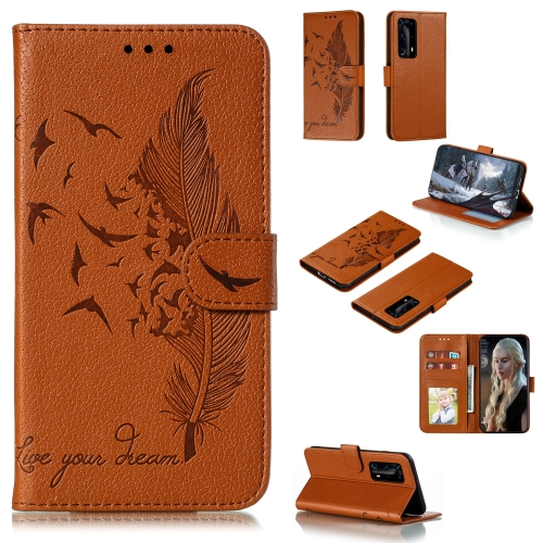 For Huawei P40 Pro+ Litchi Texture Feather Embossing Pattern Horizontal Flip Leather Case with Holder & Card Slots & Wallet & Photo Frame & Lanyard(Brown)