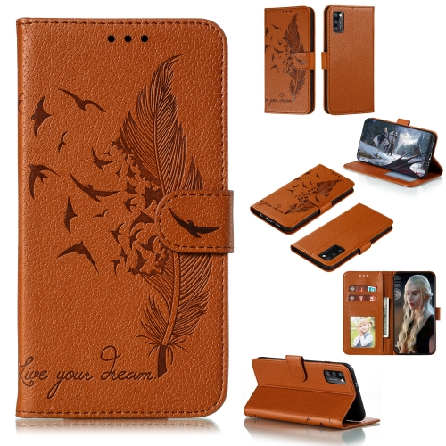 For Galaxy A41 Litchi Texture Feather Embossing Pattern Horizontal Flip Leather Case with Holder & Card Slots & Wallet & Photo Frame & Lanyard(Brown)