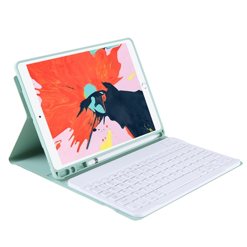 T07BB For iPad 9.7 inch / iPad Pro 9.7 inch / iPad Air 2 / Air (2018 & 2017) TPU Candy Color Ultra-thin Bluetooth Keyboard Protective Case with Stand & Pen Slot(Light Green)