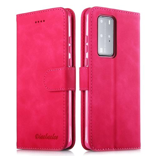 For Huawei P40 lite / nova 6 SE / nova 7i Diaobaolee Pure Fresh Texture Horizontal Flip Leather Case with Holder & Card Slot & Wallet & Photo Frame(Red)