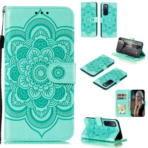 For Huawei nova 7 Mandala Embossing Pattern Horizontal Flip PU Leather Case with Holder & Card Slots & Walle & Lanyard(Green)