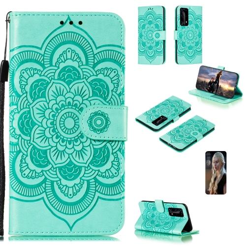 For Huawei P40 pro+ Mandala Embossing Pattern Horizontal Flip PU Leather Case with Holder & Card Slots & Walle & Lanyard(Green)