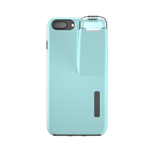 For iPhone 7 Plus / 8 Plus TPU+PC Protective Case with Charging Compartment, Can Be Placed in AirPods 1 / 2(Black + Blue)