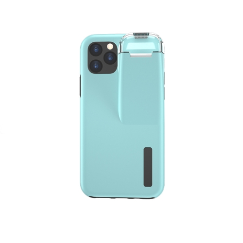 For iPhone 11 Pro TPU+PC Protective Case with Charging Compartment, Can Be Placed in AirPods 1 / 2(Black + Blue)