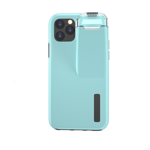 For iPhone 11 Pro Max TPU+PC Protective Case with Charging Compartment, Can Be Placed in AirPods 1 / 2(Black + Blue)