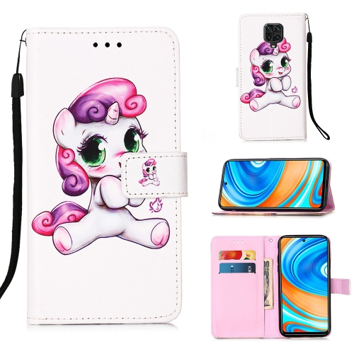 For Xiaomi Redmi Note 9S / Note 9 Pro Painting Horizontal Flip Leather Case with Holder & Card Slot & Wallet & Lanyard(Playful Pony)