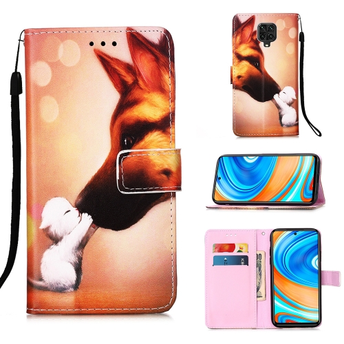 For Xiaomi Redmi Note 9S / Note 9 Pro Painting Horizontal Flip Leather Case with Holder & Card Slot & Wallet & Lanyard(Hound Kiss)
