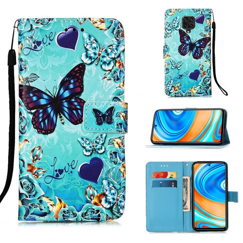 For Xiaomi Redmi Note 9S / Note 9 Pro Painting Horizontal Flip Leather Case with Holder & Card Slot & Wallet & Lanyard(Heart Butterfly)