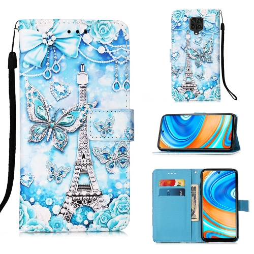 For Xiaomi Redmi Note 9S / Note 9 Pro Painting Horizontal Flip Leather Case with Holder & Card Slot & Wallet & Lanyard(Tower Butterfly)