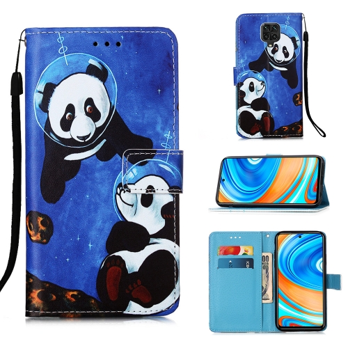 For Xiaomi Redmi Note 9S / Note 9 Pro Painting Horizontal Flip Leather Case with Holder & Card Slot & Wallet & Lanyard(Panda Under The Sea)