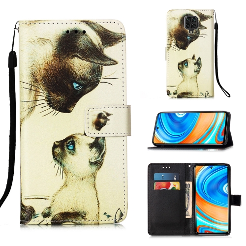 For Xiaomi Redmi Note 9S / Note 9 Pro Painting Horizontal Flip Leather Case with Holder & Card Slot & Wallet & Lanyard(Cat Stare)