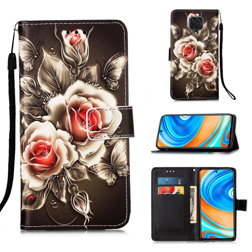 For Xiaomi Redmi Note 9S / Note 9 Pro Painting Horizontal Flip Leather Case with Holder & Card Slot & Wallet & Lanyard(Rose on Black)