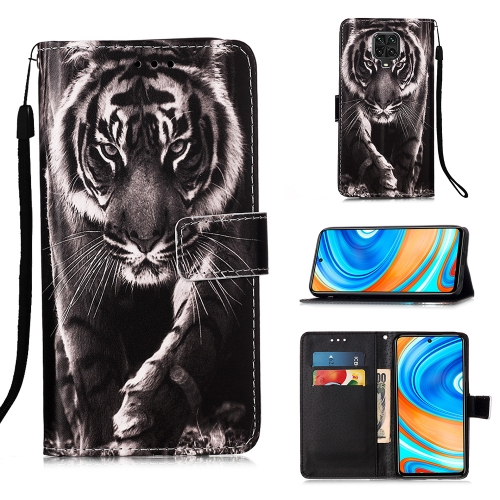 For Xiaomi Redmi Note 9S / Note 9 Pro Painting Horizontal Flip Leather Case with Holder & Card Slot & Wallet & Lanyard(Black White Tiger)