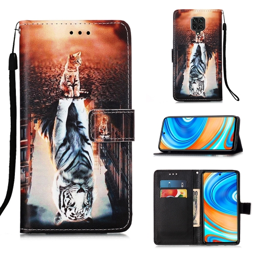 For Xiaomi Redmi Note 9S / Note 9 Pro Painting Horizontal Flip Leather Case with Holder & Card Slot & Wallet & Lanyard(Cat and Tiger)