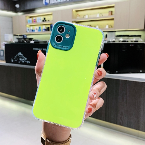 For iPhone 11 Pro Max Fine Hole Series TPU + Acrylic Anti-fall Mirror Phone Protective Case(Fluorescent Green) фото