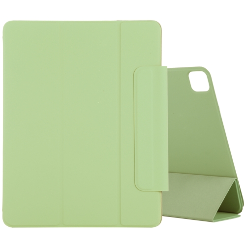 For iPad Pro 11 inch (2020) Horizontal Flip Ultra-thin Double-sided Clip Magnetic PU Leather Case With Three-folding Holder & Sleep / Wake-up Function(Light Green)