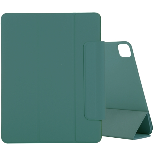 For iPad Pro 11 inch (2020) Horizontal Flip Ultra-thin Double-sided Clip Magnetic PU Leather Case With Three-folding Holder & Sleep / Wake-up Function(Dark Green)
