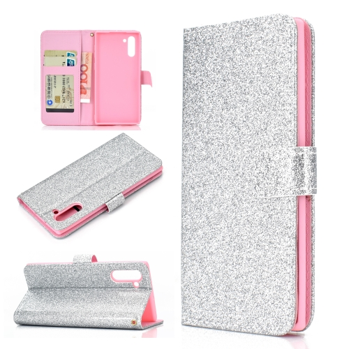 For Samsung Galaxy Note 10 Glitter Powder Horizontal Flip Leather Case with Card Slots & Holder & Photo Frame & Wallet(Silver)