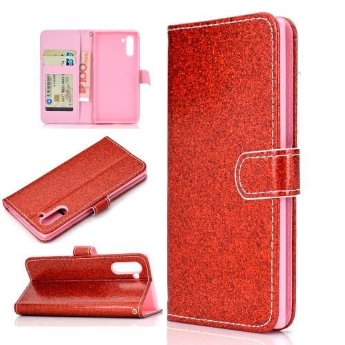 For Samsung Galaxy Note 10 Glitter Powder Horizontal Flip Leather Case with Card Slots & Holder & Photo Frame & Wallet(Red)