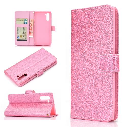 For Samsung Galaxy Note 10 Glitter Powder Horizontal Flip Leather Case with Card Slots & Holder & Photo Frame & Wallet(Pink)