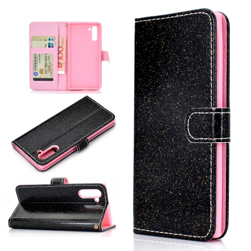 For Samsung Galaxy Note 10 Glitter Powder Horizontal Flip Leather Case with Card Slots & Holder & Photo Frame & Wallet(Black)