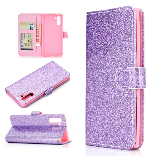 For Samsung Galaxy Note 10 Glitter Powder Horizontal Flip Leather Case with Card Slots & Holder & Photo Frame & Wallet(Purple)