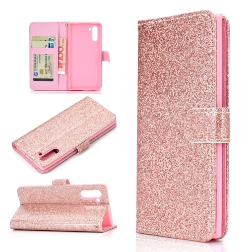 For Samsung Galaxy Note 10 Glitter Powder Horizontal Flip Leather Case with Card Slots & Holder & Photo Frame & Wallet(Rose Gold)