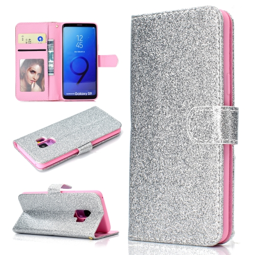 For Samsung Galaxy S9 Glitter Powder Horizontal Flip Leather Case with Card Slots & Holder & Photo Frame & Wallet(Silver)