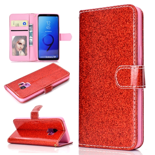 For Samsung Galaxy S9 Glitter Powder Horizontal Flip Leather Case with Card Slots & Holder & Photo Frame & Wallet(Red)