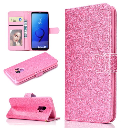 For Samsung Galaxy S9 Glitter Powder Horizontal Flip Leather Case with Card Slots & Holder & Photo Frame & Wallet(Pink)