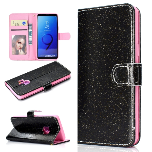 For Samsung Galaxy S9 Glitter Powder Horizontal Flip Leather Case with Card Slots & Holder & Photo Frame & Wallet(Black)