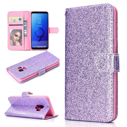 For Samsung Galaxy S9 Glitter Powder Horizontal Flip Leather Case with Card Slots & Holder & Photo Frame & Wallet(Purple)