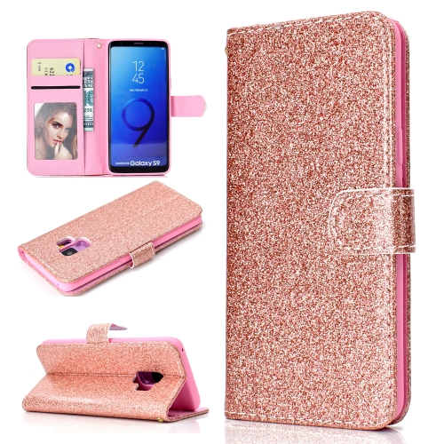 For Samsung Galaxy S9 Glitter Powder Horizontal Flip Leather Case with Card Slots & Holder & Photo Frame & Wallet(Rose Gold)
