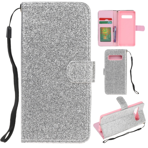 For Samsung Galaxy S10 Glitter Powder Horizontal Flip Leather Case with Card Slots & Holder & Photo Frame & Wallet(Silver)