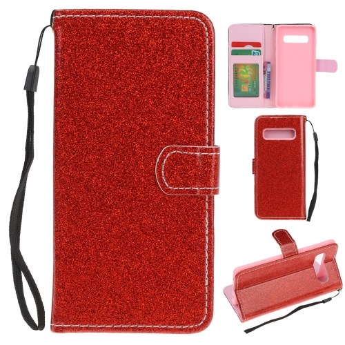 For Samsung Galaxy S10 Glitter Powder Horizontal Flip Leather Case with Card Slots & Holder & Photo Frame & Wallet(Red)