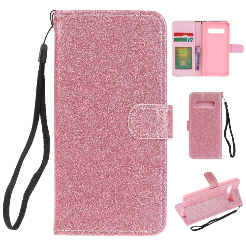 For Samsung Galaxy S10 Glitter Powder Horizontal Flip Leather Case with Card Slots & Holder & Photo Frame & Wallet(Pink)