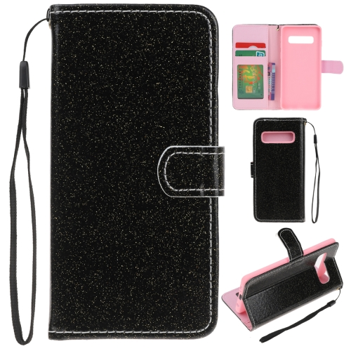 For Samsung Galaxy S10 Glitter Powder Horizontal Flip Leather Case with Card Slots & Holder & Photo Frame & Wallet(Black)