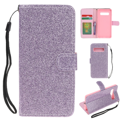 For Samsung Galaxy S10 Glitter Powder Horizontal Flip Leather Case with Card Slots & Holder & Photo Frame & Wallet(Purple)