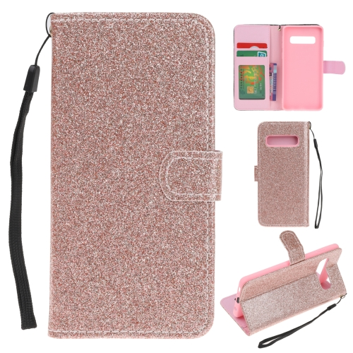 For Samsung Galaxy S10 Glitter Powder Horizontal Flip Leather Case with Card Slots & Holder & Photo Frame & Wallet(Rose Gold)