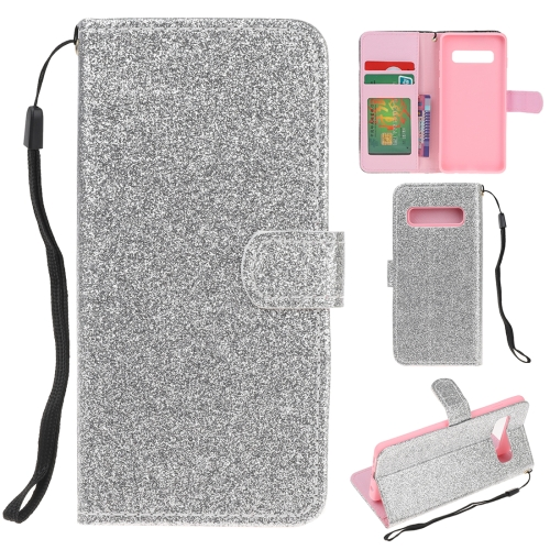 For Samsung Galaxy S10 5G Glitter Powder Horizontal Flip Leather Case with Card Slots & Holder & Photo Frame & Wallet(Silver)