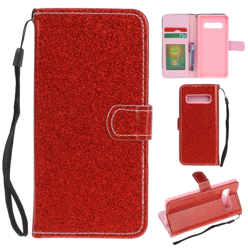 For Samsung Galaxy S10 5G Glitter Powder Horizontal Flip Leather Case with Card Slots & Holder & Photo Frame & Wallet(Red)