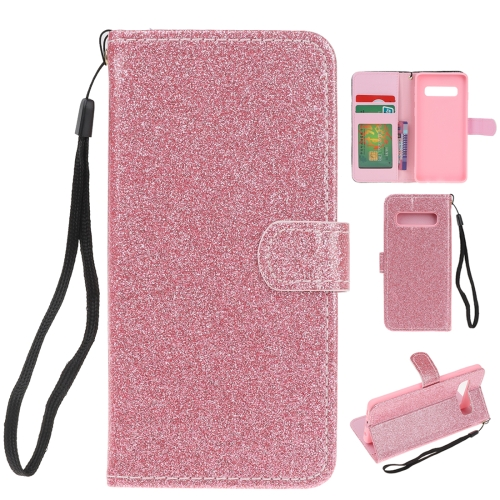 For Samsung Galaxy S10 5G Glitter Powder Horizontal Flip Leather Case with Card Slots & Holder & Photo Frame & Wallet(Pink)