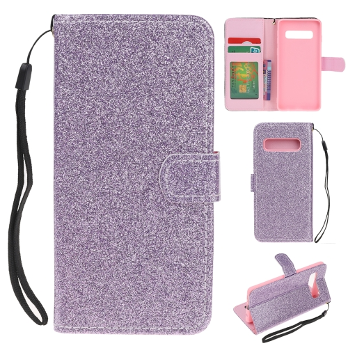 For Samsung Galaxy S10 5G Glitter Powder Horizontal Flip Leather Case with Card Slots & Holder & Photo Frame & Wallet(Purple)