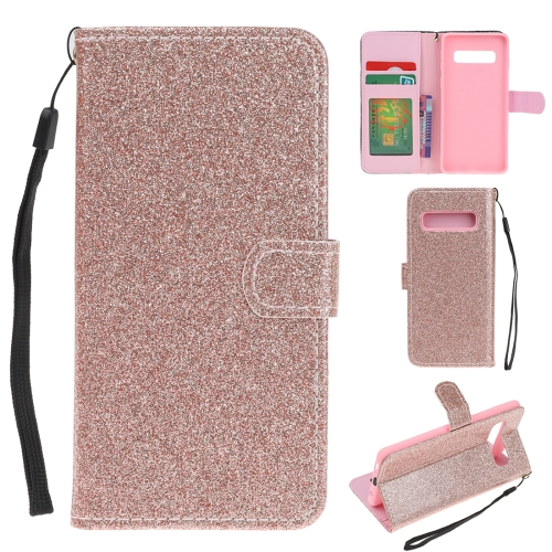 For Samsung Galaxy S10 5G Glitter Powder Horizontal Flip Leather Case with Card Slots & Holder & Photo Frame & Wallet(Rose Gold)