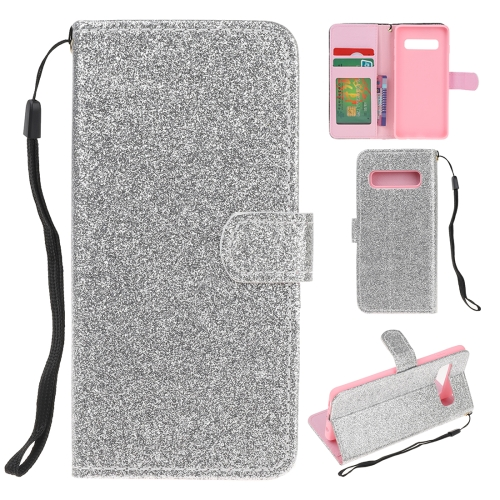 For Samsung Galaxy S10 Plus Glitter Powder Horizontal Flip Leather Case with Card Slots & Holder & Photo Frame & Wallet(Silver)
