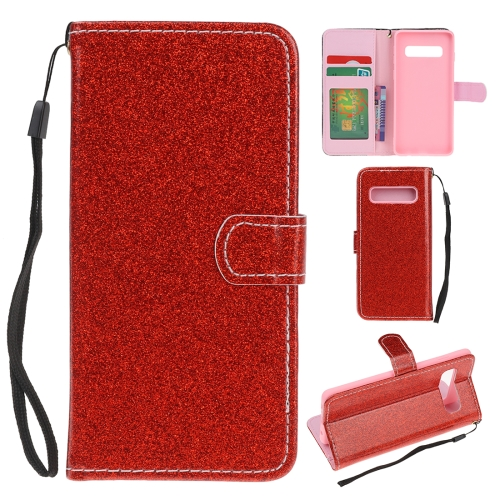 For Samsung Galaxy S10 Plus Glitter Powder Horizontal Flip Leather Case with Card Slots & Holder & Photo Frame & Wallet(Red)