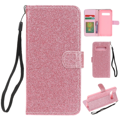 For Samsung Galaxy S10 Plus Glitter Powder Horizontal Flip Leather Case with Card Slots & Holder & Photo Frame & Wallet(Pink)